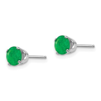 14k White Gold 5mm Emerald Stud Earrings