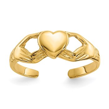 14k Polished Claddagh Toe Ring