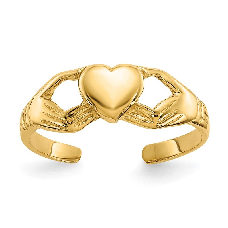 Quality Gold 14k Polished Claddagh Toe Ring