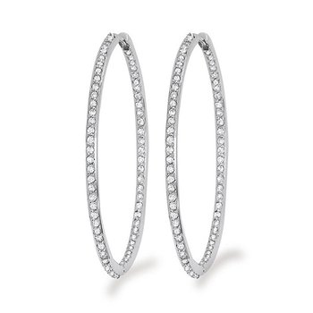 Diamond Inside Outside Hoop Earrings in 14k White Gold with 132 Diamonds weighing 1.35ct tw.