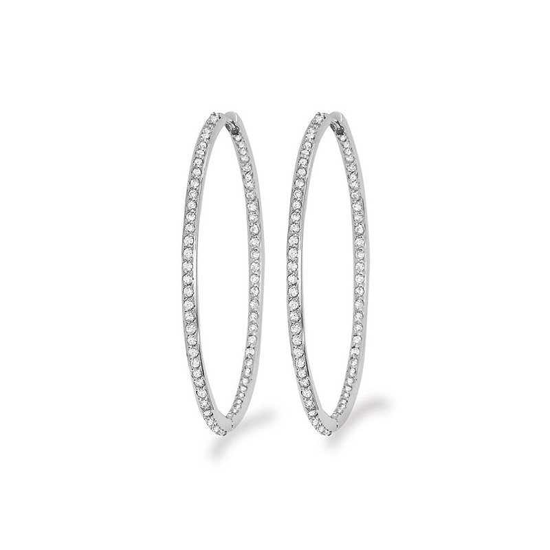 KC Designs Diamond Inside Outside Hoop Earrings in 14k White Gold with 132 Diamonds weighing 1.35ct tw.