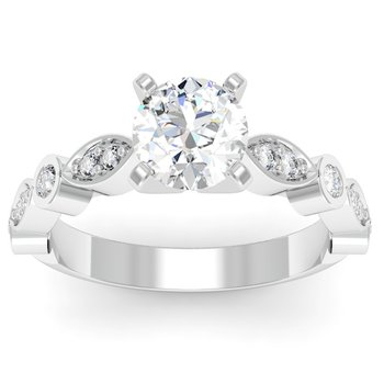 Pave & Bezel Diamond Engagement Ring