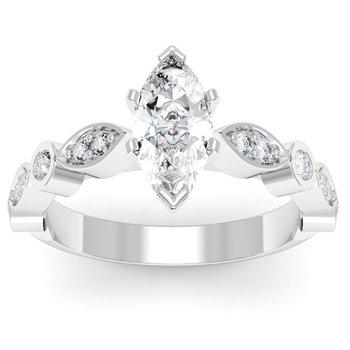 Pave & Bezel Diamond Engagement Ring