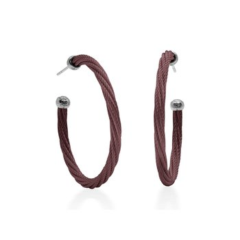 Burgundy Twisted Cable 1.5″ Hoop Earrings with 18kt White Gold