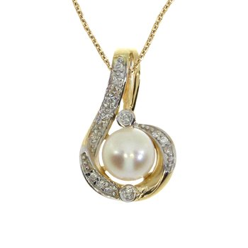 14k Yellow Gold Pearl Fashion Pendant