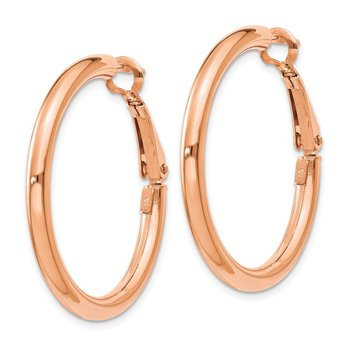 14k Rose Gold 3x25mm Polished Round Omega Back Hoop Earrings