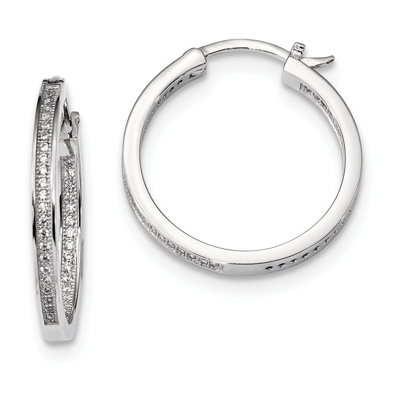 Quality Gold Sterling Silver & CZ Brilliant Embers Hoop Earrings