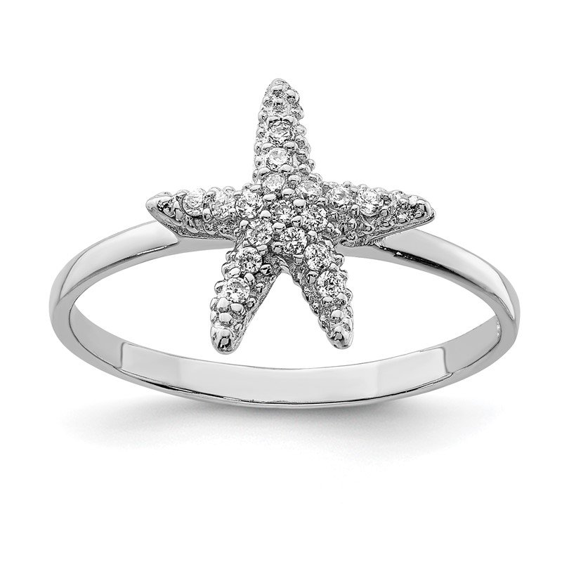 Quality Gold Sterling Silver Rhodium-plated Polished CZ Starfish Ring