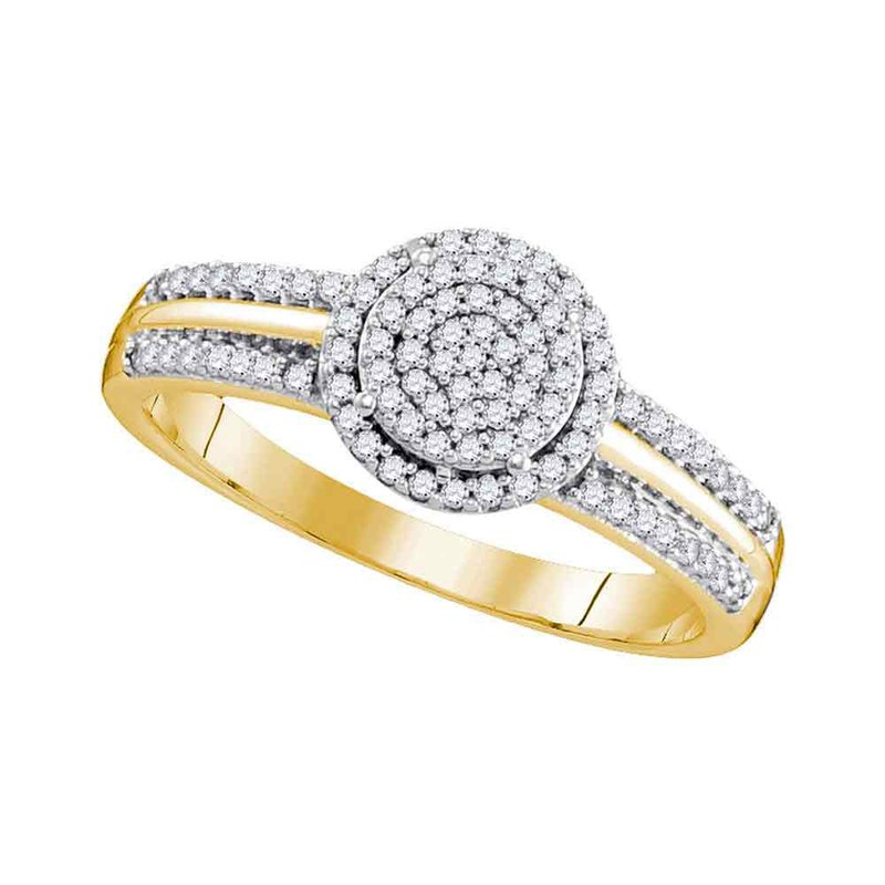 Gold-N-Diamonds, Inc. (Atlanta) 10kt Yellow Gold Womens Round Diamond Circle Cluster Bridal Wedding Engagement Ring 1/4 Cttw