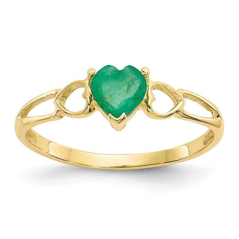 Quality Gold 10k Polished Geniune Emerald Birthstone Ring