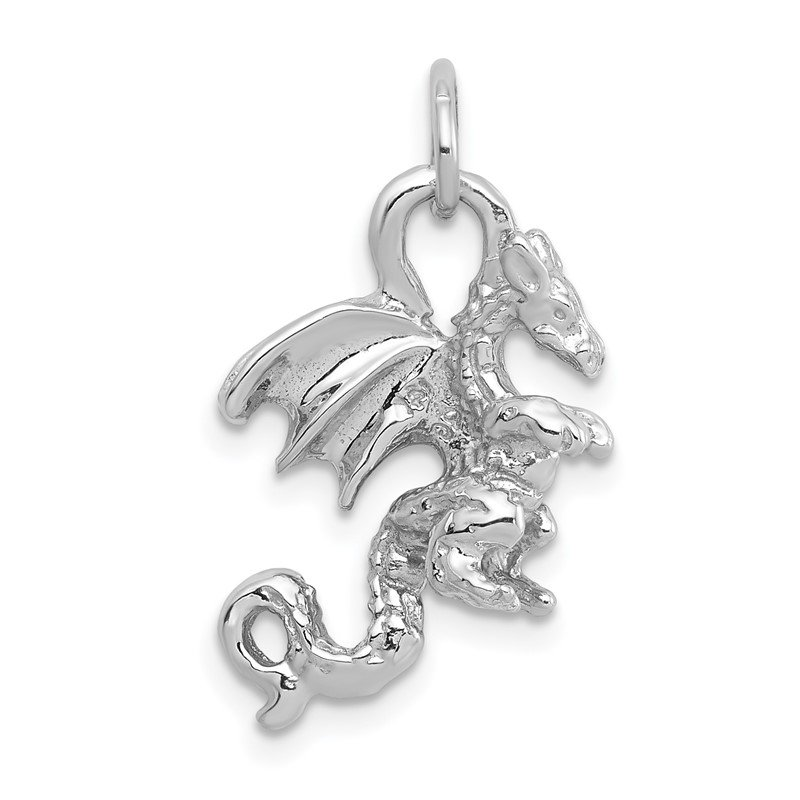 Quality Gold 14k White Gold Solid Polished 3-D Dragon Charm