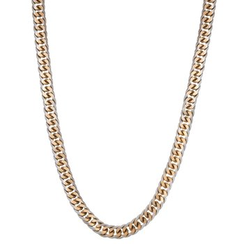 Gourmette Stainless Steel Gold Ion Plated Thin Two Tone Chain Necklace - 3 MM, 24 Inches with Lobster Clasp