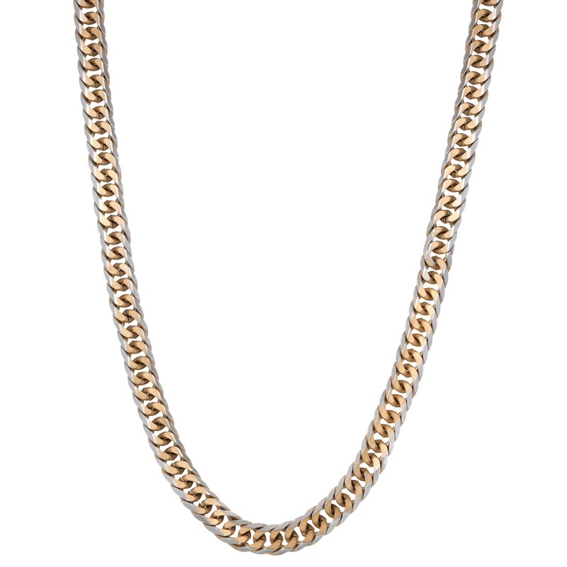 Lynx Gourmette Stainless Steel Gold Ion Plated Thin Two Tone Chain Necklace - 3 MM, 24 Inches with Lobster Clasp