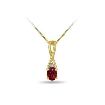 10K YG and diamond and Garnet infinity style birthstone pendant