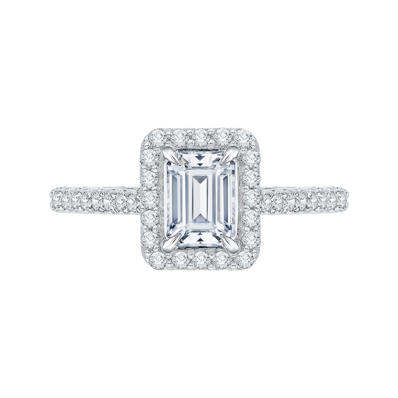 Carizza Emerald Cut Diamond Halo Engagement Ring In 14K White Gold (Semi-Mount)