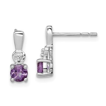 Sterling Silver Rhodium Plated Diamond & Amethyst Post Earrings