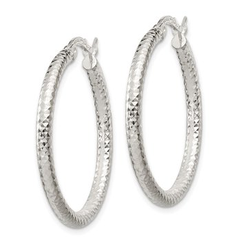 Sterling Silver Polished 2.5mm D/C Hoop Earrings