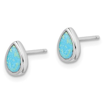 Sterling Silver Rhodium-plated Imitation Opal Teardrop Post Earrings