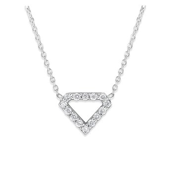 Diamond Necklace in 14K White Gold with 14 Diamonds Weighing .14 ct tw