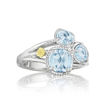 Petite Budding Brilliance Ring featuring Sky Blue Topaz