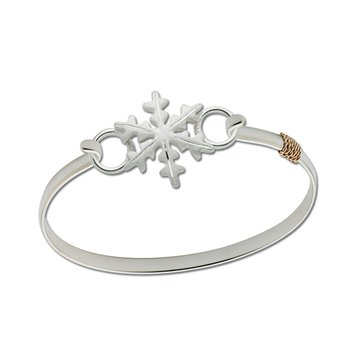 Sterling Silver Snowflake + Decorative Two Tone Narrow Wrap Bracelet