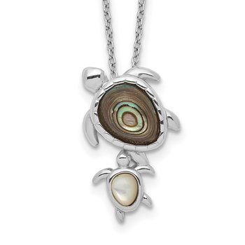 Sterling Silver Rhodium-plated Abalone and MOP Turtle Necklace
