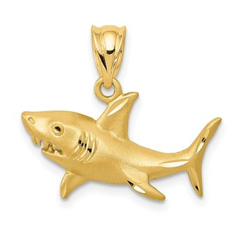 14K Satin Diamond-Cut Shark Pendant