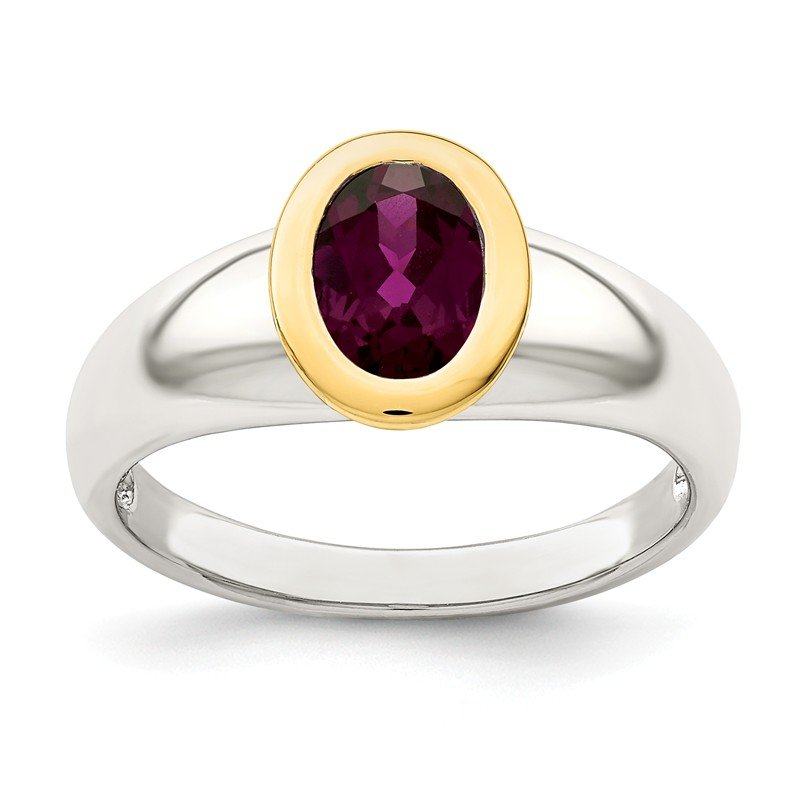 Shey Couture Sterling Silver w/ 14K Accent Rhodolite Garnet Oval Ring