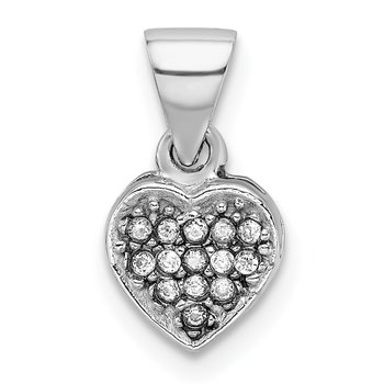 Sterling Silver Rhodium-plated CZ Polished Heart Pendant