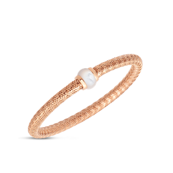 18Kt Gold Flexible Bangle With Mother Of Pearl