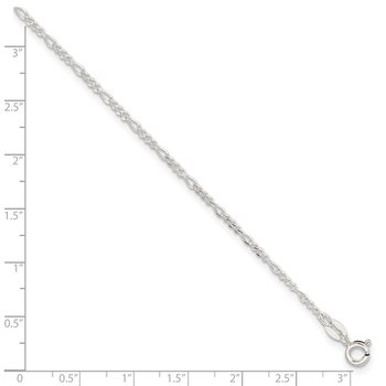Sterling Silver Diamond Cut Polished Figaro 9in Plus 1in ext. Anklet