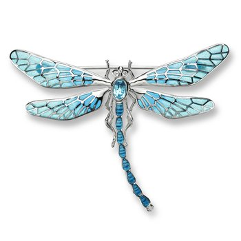 Blue Dragonfly Brooch-Pendant.Sterling Silver-White Sapphires and Blue Topaz - Plique-a-Jour