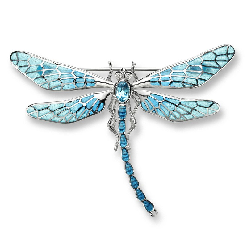 Nicole Barr Designs Blue Dragonfly Brooch-Pendant.Sterling Silver-White Sapphires and Blue Topaz - Plique-a-Jour