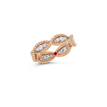 1 Row Ring With Diamonds &Ndash; 18K Rose Gold, 7.5