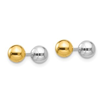 14k Two-tone Madi K Reversible 5mm Ball Earrings