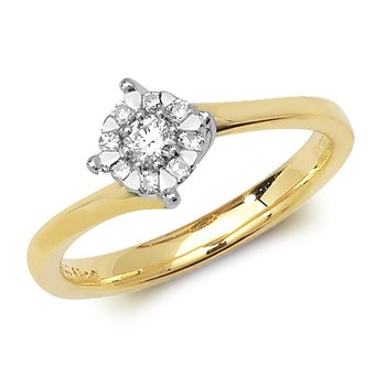 5.8mm 9Ct Yellow Gold 0.18Ct Diamond Ring