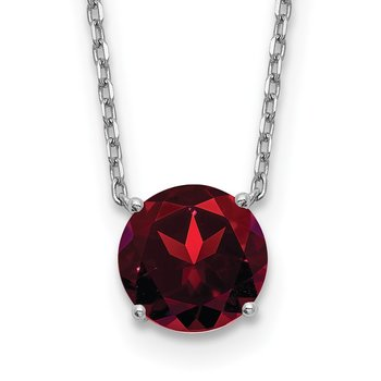 Sterling Silver RH Plated Dark Red Swarovski Crystal w/ 2in ext Necklace