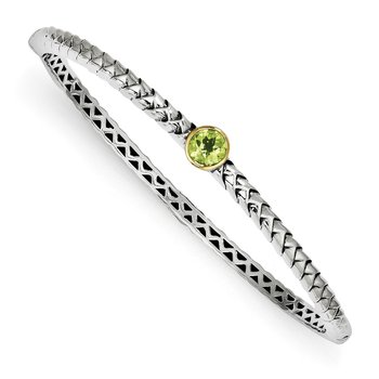 Sterling Silver w/14k Peridot Bangle Bracelet