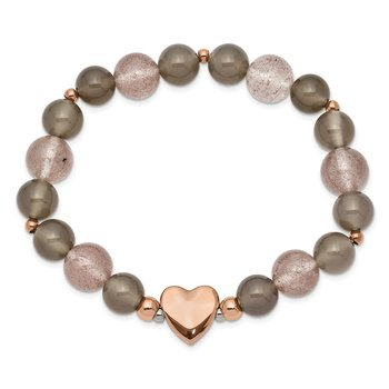 Stainless Steel Polished Rose IP Heart Grey Agate/Strawberry Quartz Stretch