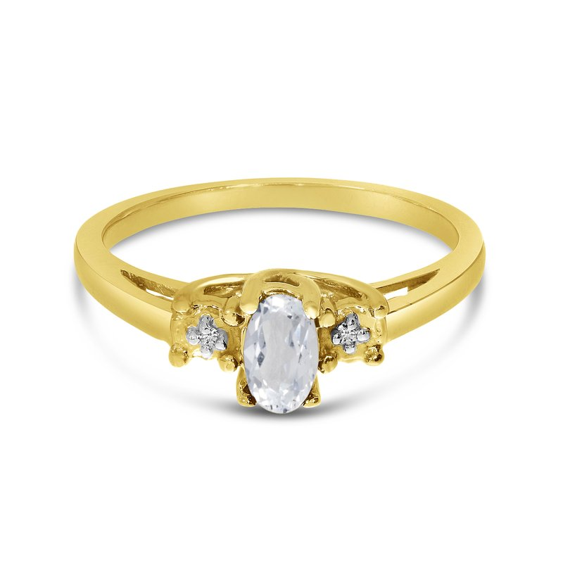 Color Merchants 14k Yellow Gold Oval White Topaz And Diamond Ring