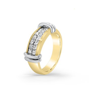 Yellow Gold Diamond Two Tone Retro Fashion Ring