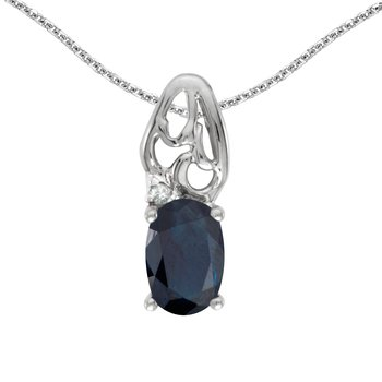 10k White Gold Oval Sapphire And Diamond Pendant