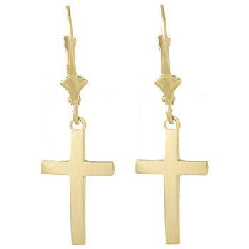 14k Polished Cross Leverback Earrings