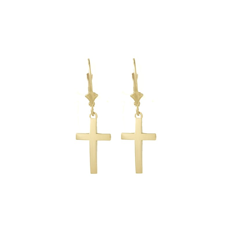 Quality Gold 14k Polished Cross Leverback Earrings
