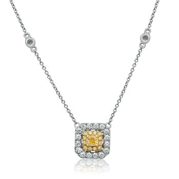 Radiant Cut Diamond Drop Necklace