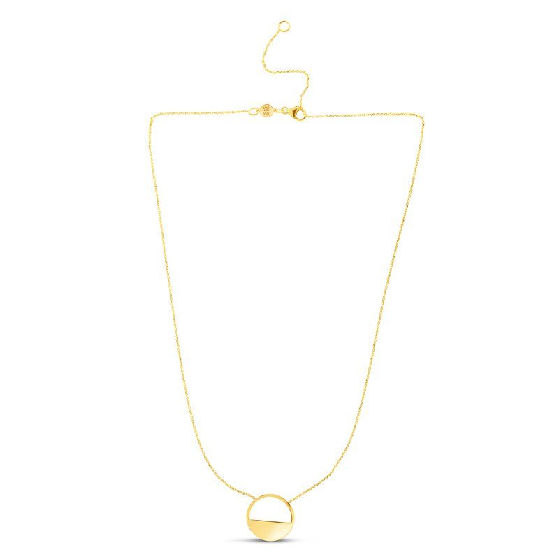 Royal Chain 14K Gold Polished SOHO Half Disc Necklace