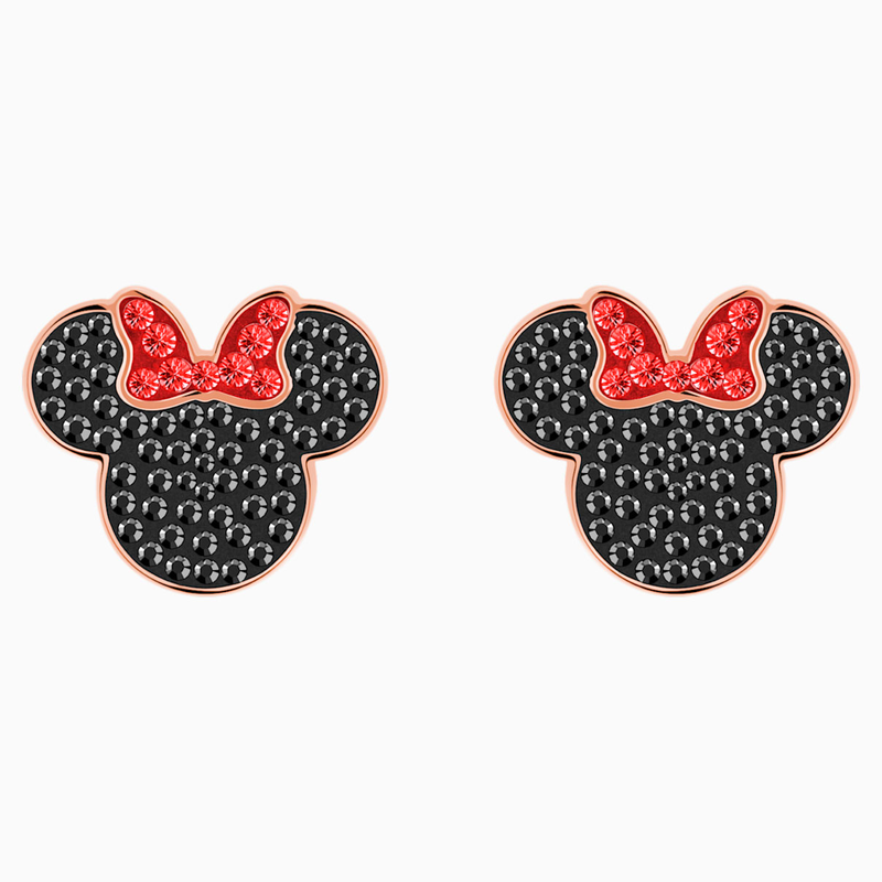Swarovski Mickey & Minnie Pierced Earrings, Black, Rose-gold tone plated