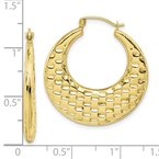 Quality Gold 10k Polished Textured Hoop Earrings