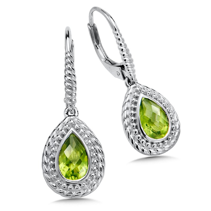 Colore Sg Sterling Silver Peridot Leverback Earrings