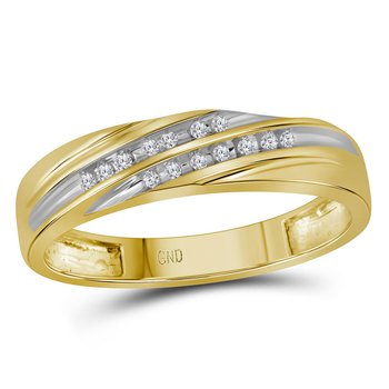 10kt Yellow Gold His & Hers Round Diamond Cluster Matching Bridal Wedding Ring Band Set 3/8 Cttw